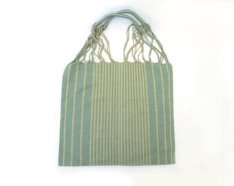 loom tote handbag/ green and beige / mexican bag