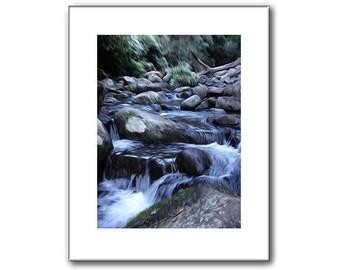 Waterfall Print - Blue Waterfall - Woodland Waterfall Print- 11 x 14