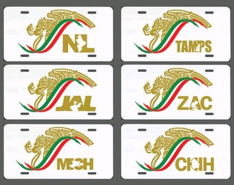 Mexico escudo car window vinyl sticker Gobierno white aluminum License Plate Mex