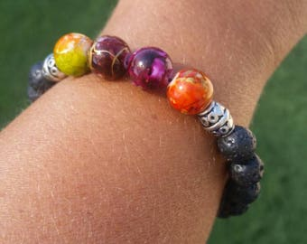 Multiple Purple, Orange color lava bead bracelet