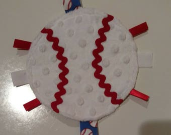 Baby Toy - Baseball - Sensory Crinkle Ribbon Toy - 6 inches - Multiple Ribbon Color Options Available