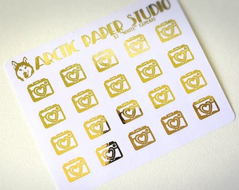 Cameras - FOILED Sampler Event Icons Planner Stickers
