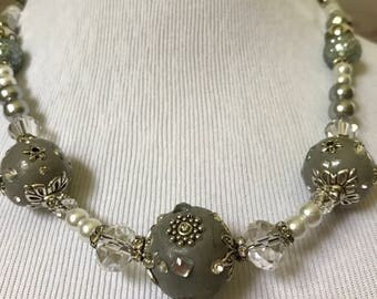 Gorgeous Silver Beaded Necklace!