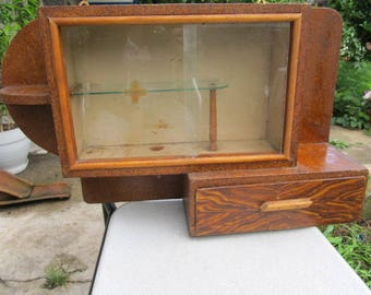 Old Vintage wooden apothecary wall hanging cabinet home first aid kit