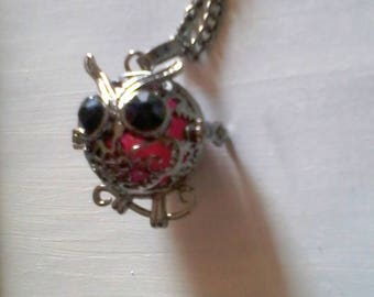 OWL on starry pink heart phosphorescent glow pendant