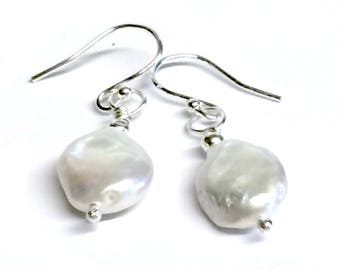 White Freshwater Pearl Nugget Earrings