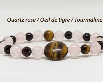 Tourmaline, rose Quartz, Tiger eye bracelet