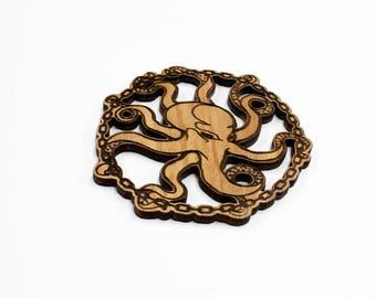 Laser cut octopus coaster