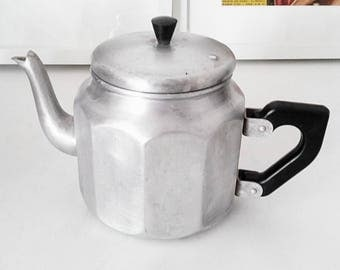 Coffee pot/teapot made of aluminum. Vintage France