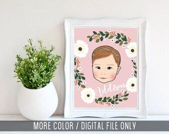 Custom Pop Art Portrait, Custom Baby portrait, Nursery Print, Custom pop art, Baby Bedroom Print, Digital File