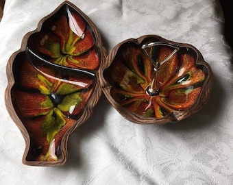 2 Swirl Sequoia Ware California Pottery - Leaf Dish & Handled Candy Nut Dish