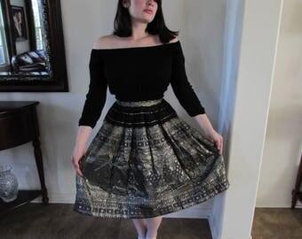 Vintage 1950s Guatemalan Weavers Disneyland Skirt in Black and Silver