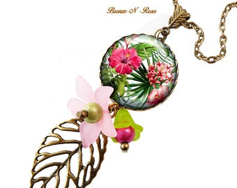 Flower necklace tropical gift pink green necklace costume jewelry