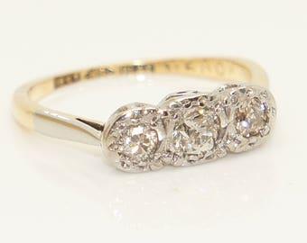 Fabulous 18ct Gold & Plat 0.28 CTW Diamond Three Stone Engagement Ring, Size L
