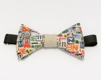 """Beige bow tie multicolored """"Typopillon"""""""