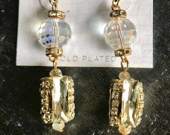 Dress Drop Gold Plated Earrings with Varied Crystal on a French Hook
