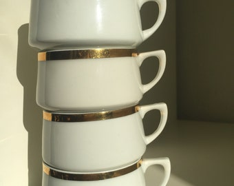 Set of 4 vintage espresso china cups with gold rims