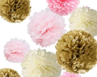 Set of 18 Mixed Gold Pink Ivory Party Tissue Pom Poms Flower Ball for Princess Girl Baby Shower Wedding Birthday Nursery Decoration