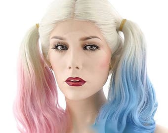 Harley Quinn Lace Front Synthetic Hair Pigtails Wig White Blonde Mixed Blue Pink Cosplay