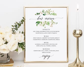 Greenery Bar Menu Sign, Wedding Bar Menu Template, Drink Sign, Wedding Drinks Menu, Drinks Printable Wedding, Bar Menu Sign