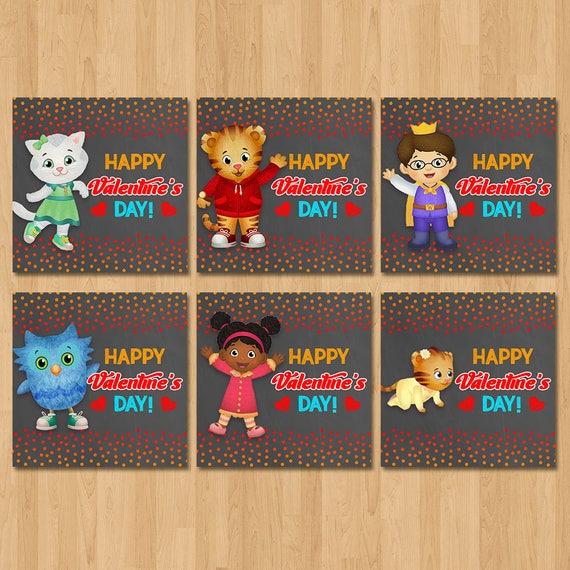 Daniel Tiger Valentine's Day Cards - Chalkboard Red, Orange - Daniel Tiger Boy Valentine's Day - Daniel Tiger School Valentine's Cards