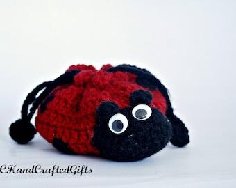 Crochet Ladybug Purse,Ladybug Children's Purse,Crochet Girls Purse,Handmade Cinch Bag,Cute Ladybug Purse,Ladybug Coin Purse,Drawstring Purse