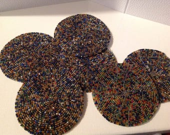 Set of 6 coaster beads