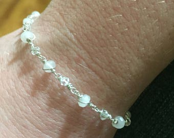Wire wrapped Faceted Rose quartz and swarovski crystal bracelet