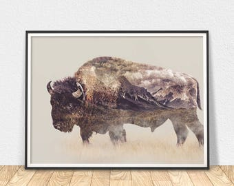 Buffalo Print - Animal Wall Art, Bison Poster, Nature Wall Decor, Bison Printable Art, American Bison, Modern Wall Art, Bison Decor