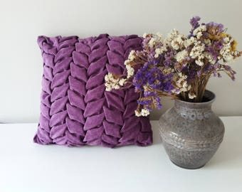 Purple Chenilles Pillow, Decorative Pillow with Leaves, Smocked Pillow, Canadian Smocking, Smocked Cushion Cover, Throw Pillow Case