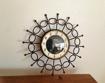Clock Bayard - Sun gold and black - France - Antique