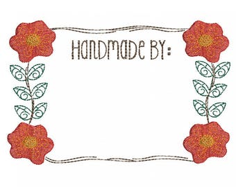 Poppies Quilt Label - Machine Embroidery Design