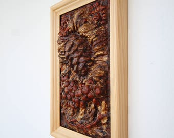 Pine cone and Rowan/ 3D panno / Siberian cedar (Pinus sibirica) / handcrafted /gift for moms and grandmothers