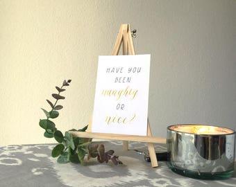 Calligraphy Christmas Card Holiday Card - Gold - Naughty or Nice