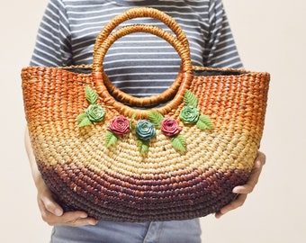 Weaving seagrass (water hyacinth) tote bag  handmade from Thailand/Colorful Straw bag