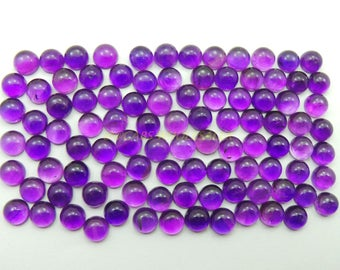 10 Pcs - Natural Amethyst Smooth Round Shape Cabochons - 6 MM Size - Amethyst Cabochons - High Quality - Amethyst Cabochon - Wholesalegems