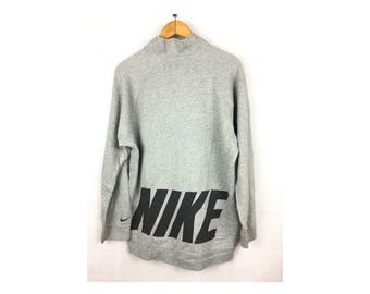 NIKE Sweatshirt Long Sleeve Large Size With Big Spell Out logo and Neck Push button
