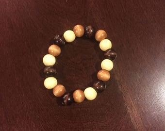 Wooden Beaded Bracelet - Brown/Neutral Beaded Bracelet