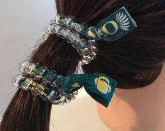 University of Oregon Ducks UofO secure sports hair tie hair cord hair elastic for all pony tail types messy buns fitness athletic
