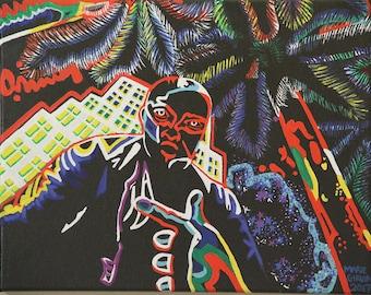 "24"" x 36"", Custom, colorful, neon portrait"
