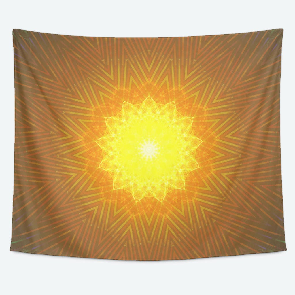 YELLOW GIANT Tapestry- Yellow Star Design- Trippy Geometric Wall ...