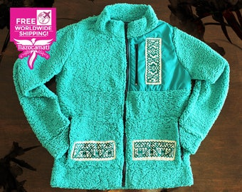 Beautiful and unique, Mexican jacket with embroidery indigenous handmade in the Mexican Sierra, made in Mexico, mint green jacket