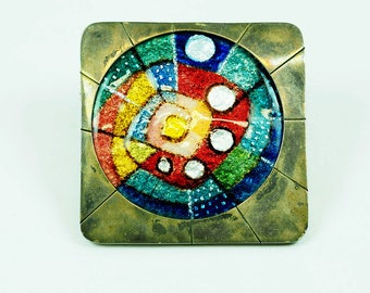 Abstract Hand Painted Enamel Silver Vintage Pendant/Brooch