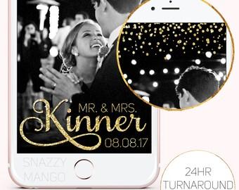 Wedding Snapchat Geofilter, Gold Glitter, Wedding Geofilter, Gold Sparkle Geofilter, Wedding Day Geofilter, Glittery Snapchat Filter, Gold!