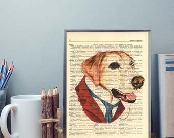 Dog in suit dictionary print, Wall decor, Vintage wall art, Old book page print, Vintage dog, Dictionary art, Vintage style print, Home art