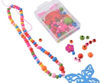 """Mixed wooden beads, """"Butterfly"""" pattern Kit"""