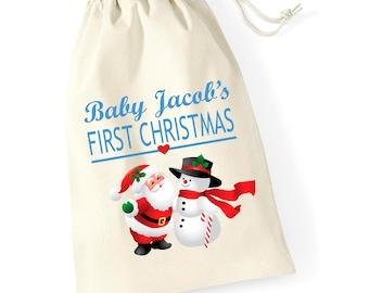 Personalised Santa Snowman Babys First Christmas Santa Sack Reindeer Xmas Present Stocking Drawstring Keepsake Tumblr Pintrest