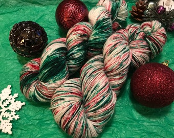 Christmas Chaos, Indie Dyed Yarn, Hand Dyed Yarn, Speckled Yarn, Christmas sock yarn, Christmas yarn