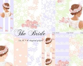 Romantic Wedding Digital Paper Commercial Use. 12 digital paper pack