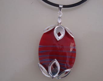 Oval Pendant on leather cord